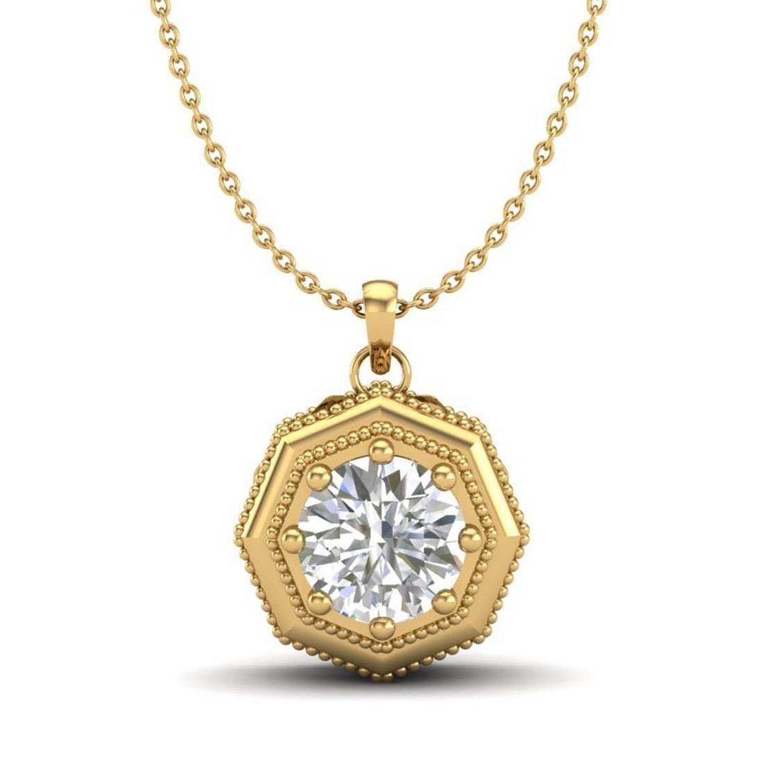 0.75 ctw Diamond Solitaire Art Deco Necklace 18K Yellow