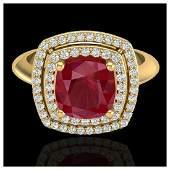 252 ctw Ruby  Diamond Ring 18K Yellow Gold