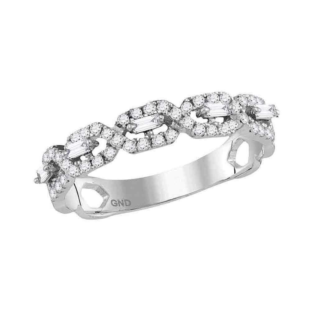 14kt White Gold Round Diamond Modern Twist Stackable