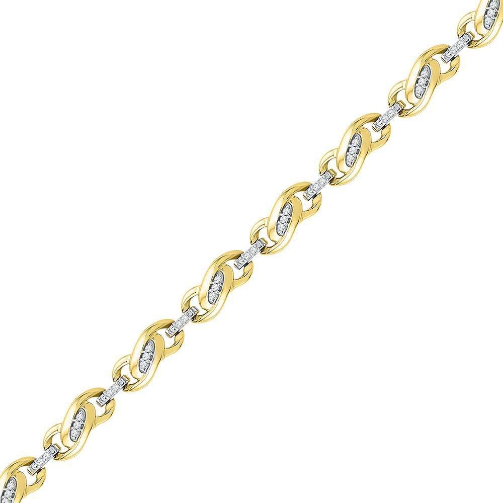 10kt Yellow Gold Round Diamond Fashion Link Bracelet