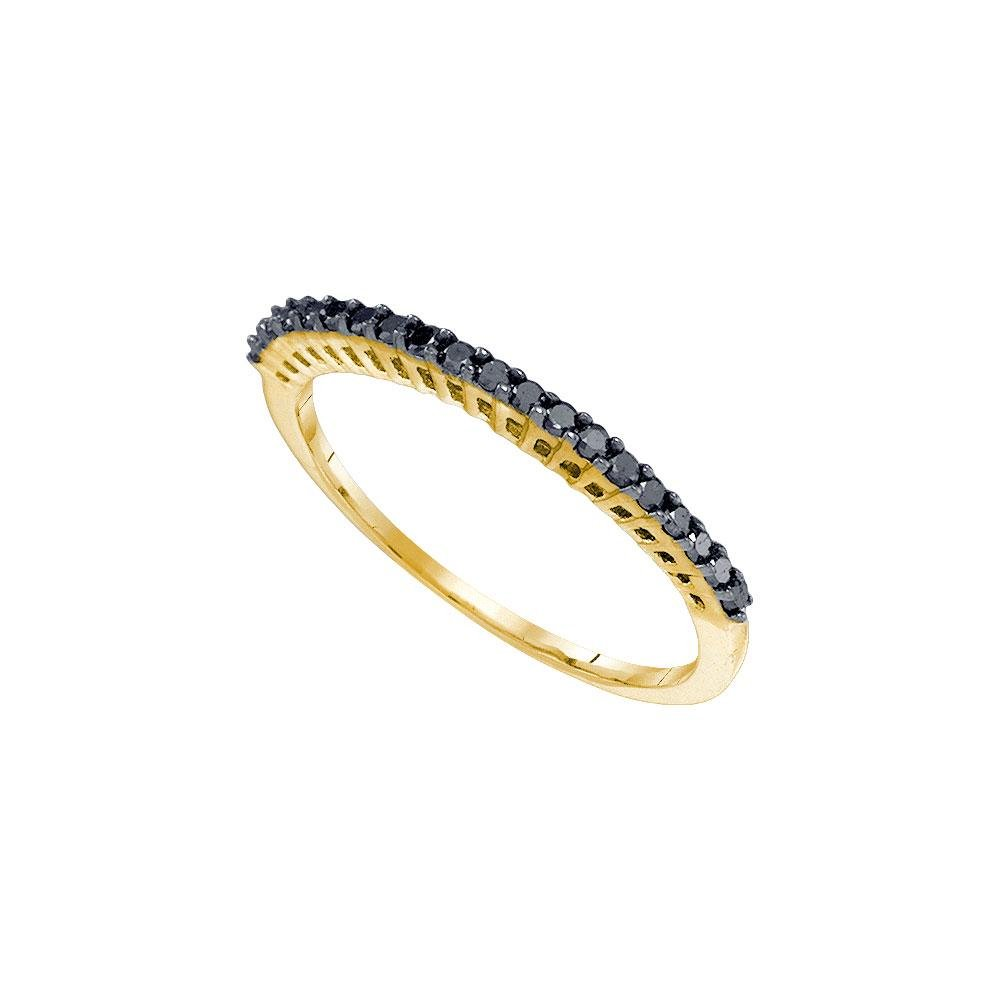 10kt Yellow Gold Round Black Color Enhanced Diamond