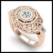 075 ctw VSSI Diamond Solitaire Art Deco Ring 18K Rose
