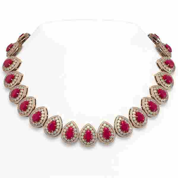 121.42 ctw Ruby & Diamond Necklace 14K Rose Gold