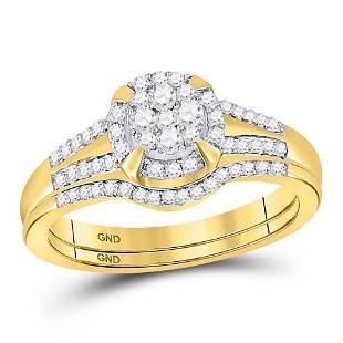 10kt Yellow Gold Round Diamond Bridal Wedding