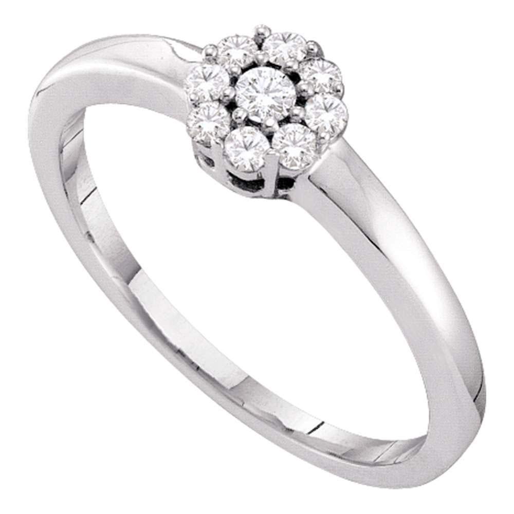14kt White Gold Round Diamond Cluster Bridal Wedding