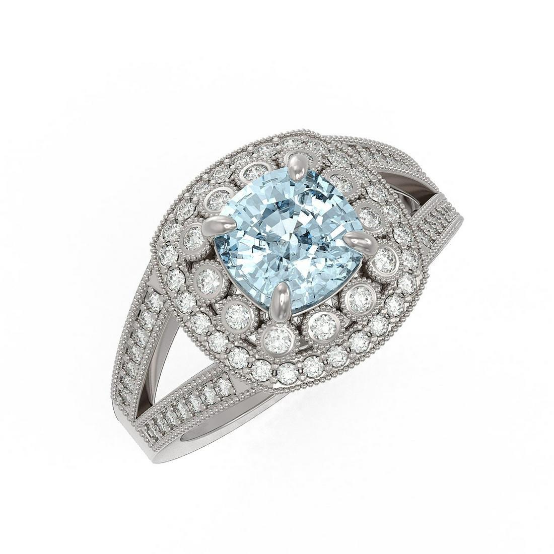 2.39 ctw Aquamarine & Diamond Ring 14K White Gold