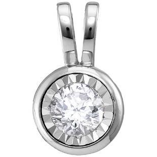 14kt White Gold Round Diamond Solitaire Pendant 12