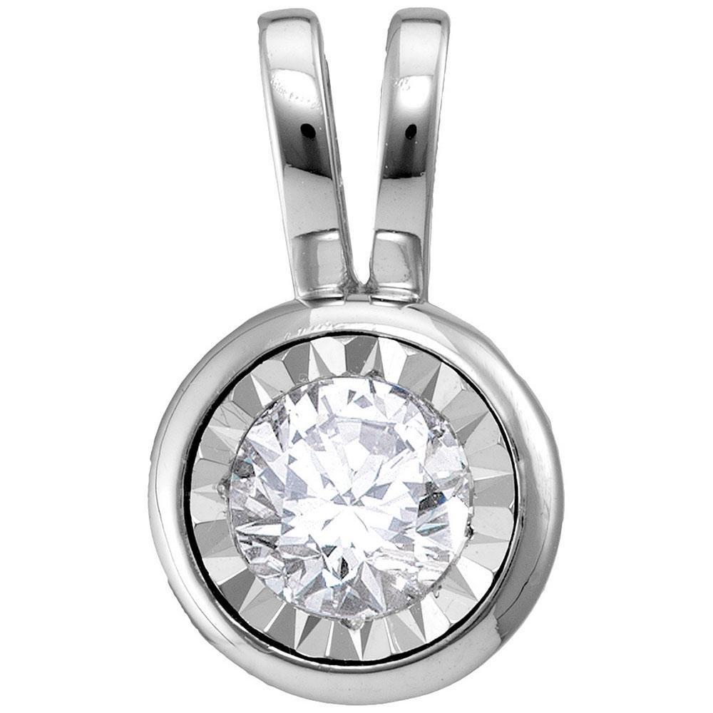 14kt White Gold Round Diamond Solitaire Pendant 1/2