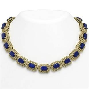 13765 ctw Sapphire Diamond Necklace 14K Yellow Gold