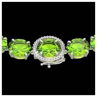 148 ctw Peridot VSSI Diamond Halo Necklace 14K White
