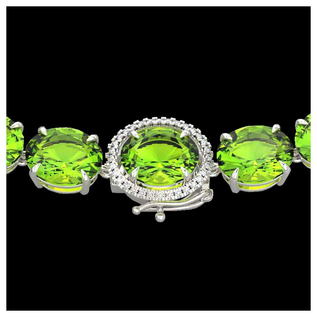 148 ctw Peridot & VS/SI Diamond Halo Necklace 14K White