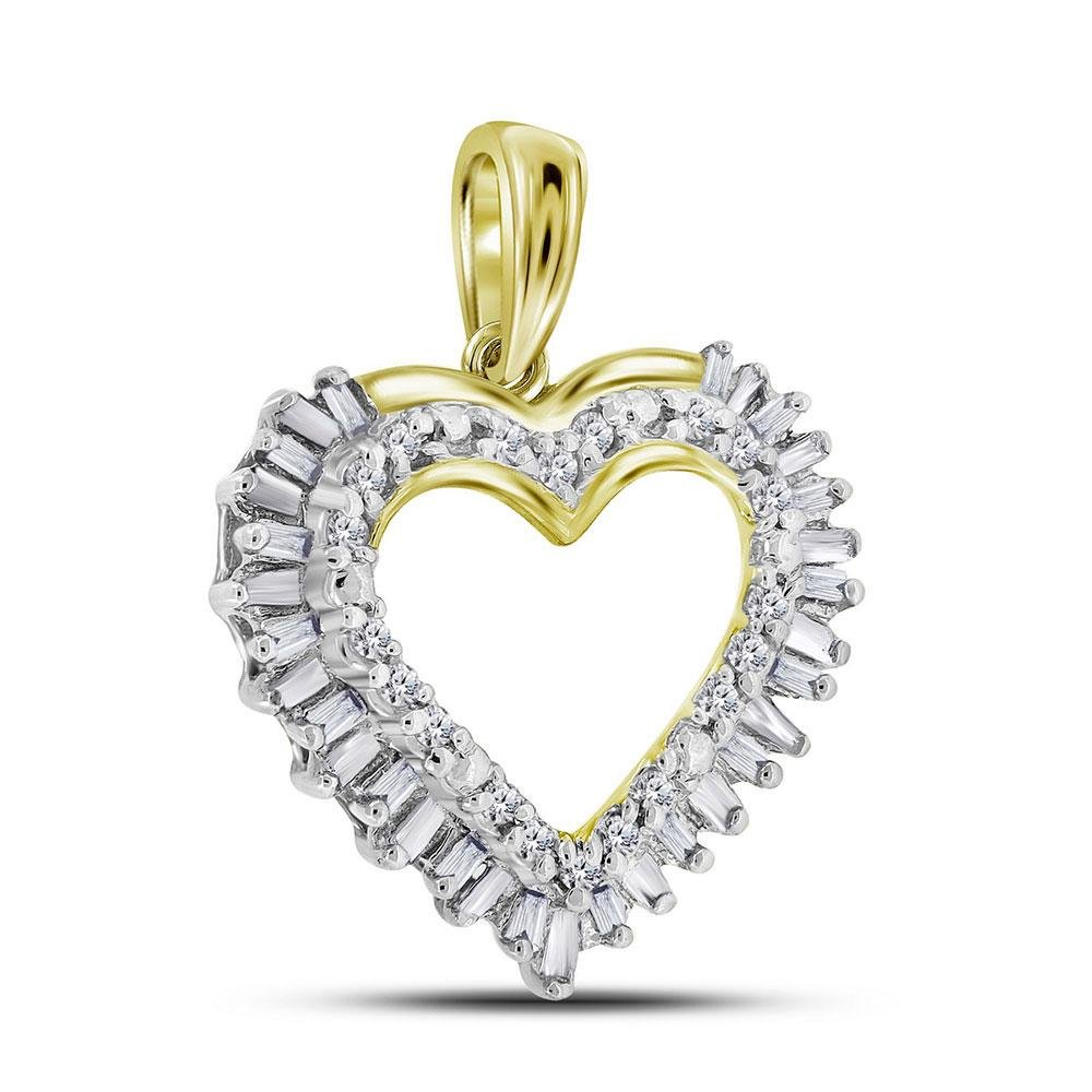14kt Yellow Gold Round Baguette Diamond Heart Frame