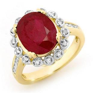 583 ctw Ruby Diamond Ring 10K Yellow Gold