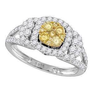 14kt White Gold Round Yellow Diamond Cluster Bridal