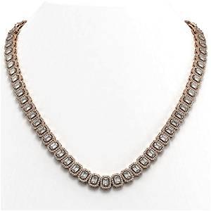 30.73 ctw Emerald Diamond Necklace 18K Rose Gold