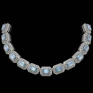 4914 ctw Aquamarine Diamond Bracelet 14K White Gold