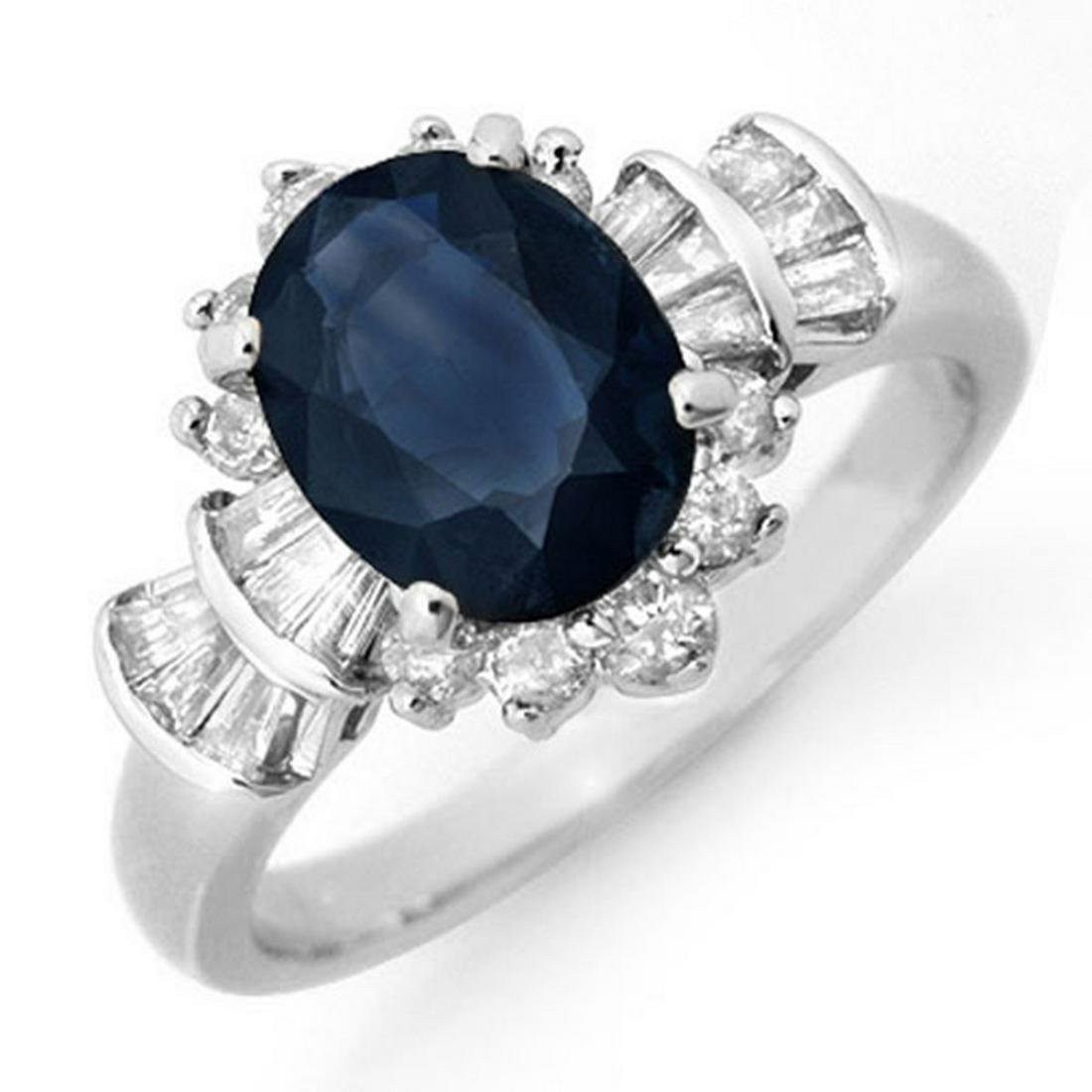 2.13 ctw Blue Sapphire & Diamond Ring 18K White Gold