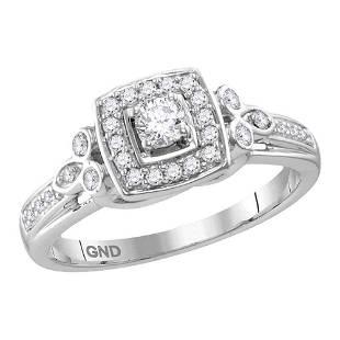 10kt White Gold Round Diamond Round Halo Bridal Wedding