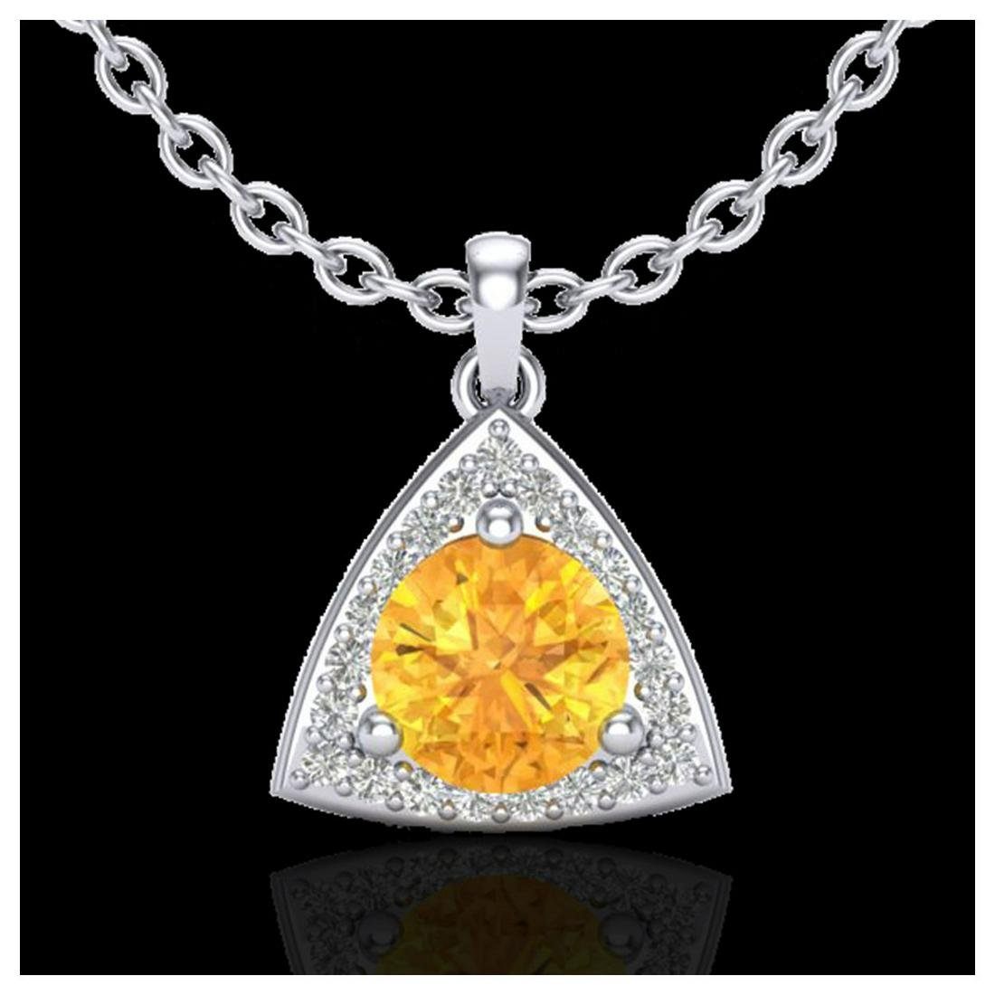 1.50 ctw Citrine & VS/SI Diamond Necklace 18K White