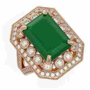 1198 ctw Emerald Diamond Ring 14K Rose Gold
