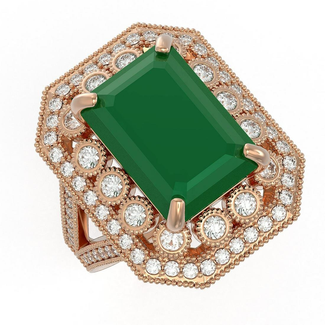 11.98 ctw Emerald & Diamond Ring 14K Rose Gold