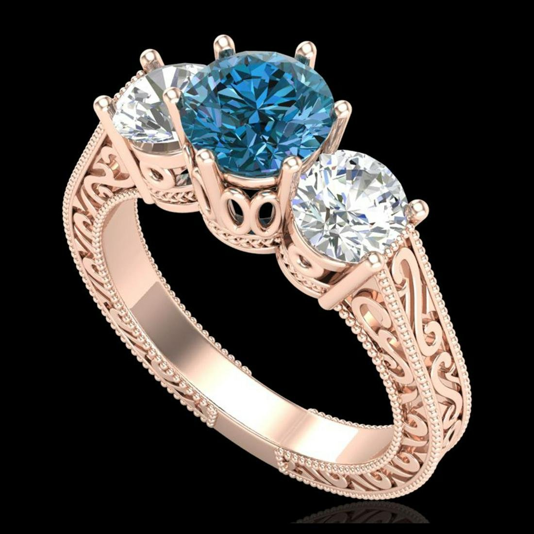 2.01 ctw Fancy Intense Blue Diamond Art Deco Ring 18K