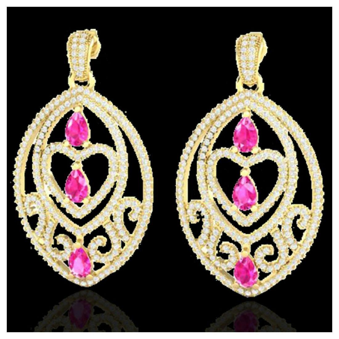7 ctw Sapphire Pink & Diamond Heart Earrings 18K Yellow