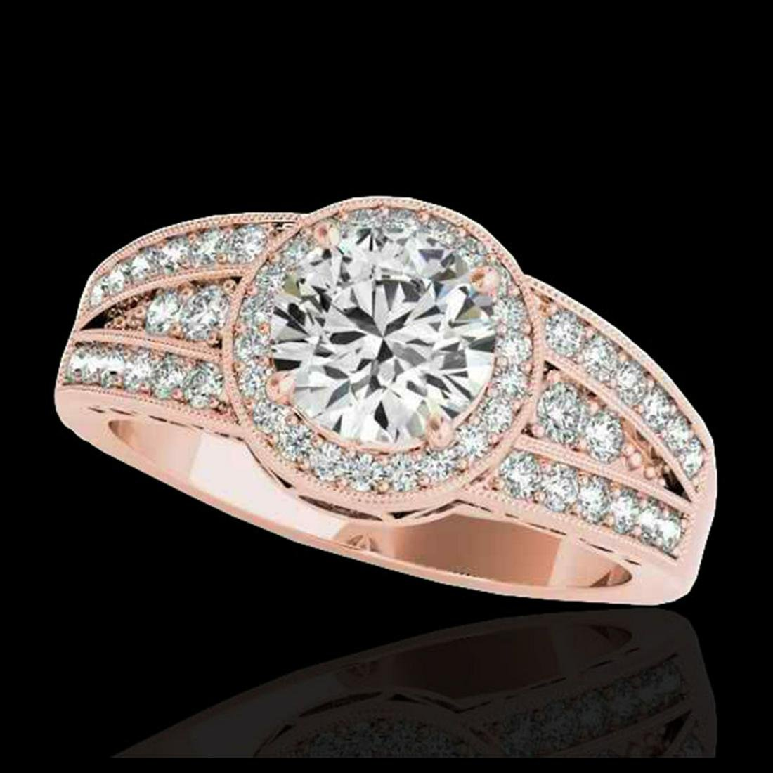 1.50 ctw H-SI/I Diamond Solitaire Halo Ring 10K Rose