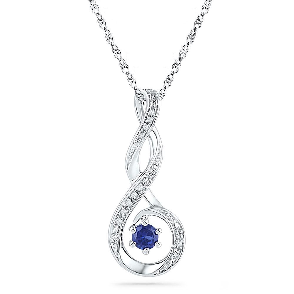 10kt White Gold Round Lab-Created Blue Sapphire Diamond