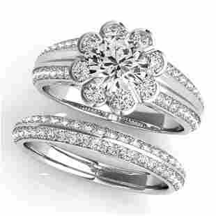186 ctw VSSI Diamond 2pc Wedding Set Halo 14K White