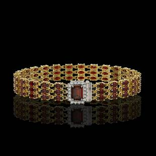 2151 ctw Garnet Diamond Bracelet 14K Yellow Gold