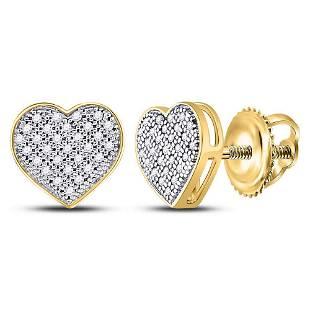 10kt Yellow Gold Round Diamond Heart Cluster Screwback