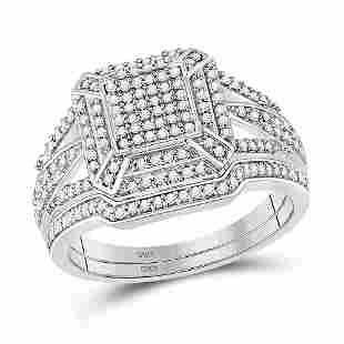 10kt White Gold Diamond Cluster Bridal Wedding