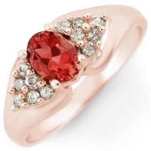 090 ctw Pink Tourmaline Diamond Ring 14K Rose Gold
