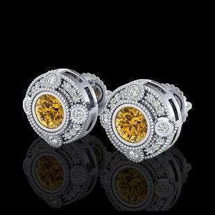 150 ctw Intense Fancy Yellow Diamond Art Deco Earrings