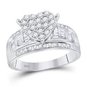 10kt White Gold Round Diamond Heart Cluster Bridal