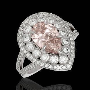 422 ctw Morganite Diamond Ring 14K White Gold