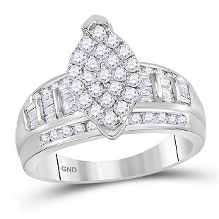 10kt White Gold Round Diamond Marquiseshape Cluster