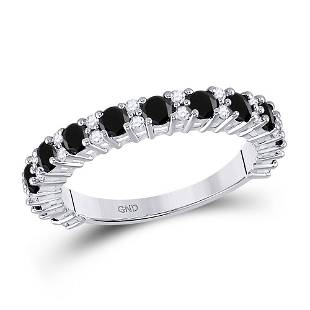 10kt White Gold Round Black Color Enhanced Diamond