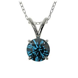 051 ctw Intense Blue Diamond Necklace 10K White Gold