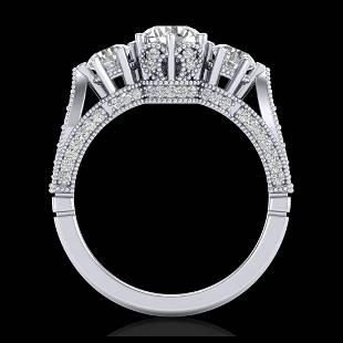 218 ctw VSSI Diamond Art Deco 3 Stone Ring 18K White