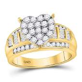 10kt Yellow Gold Round Diamond Heart Cluster Bridal