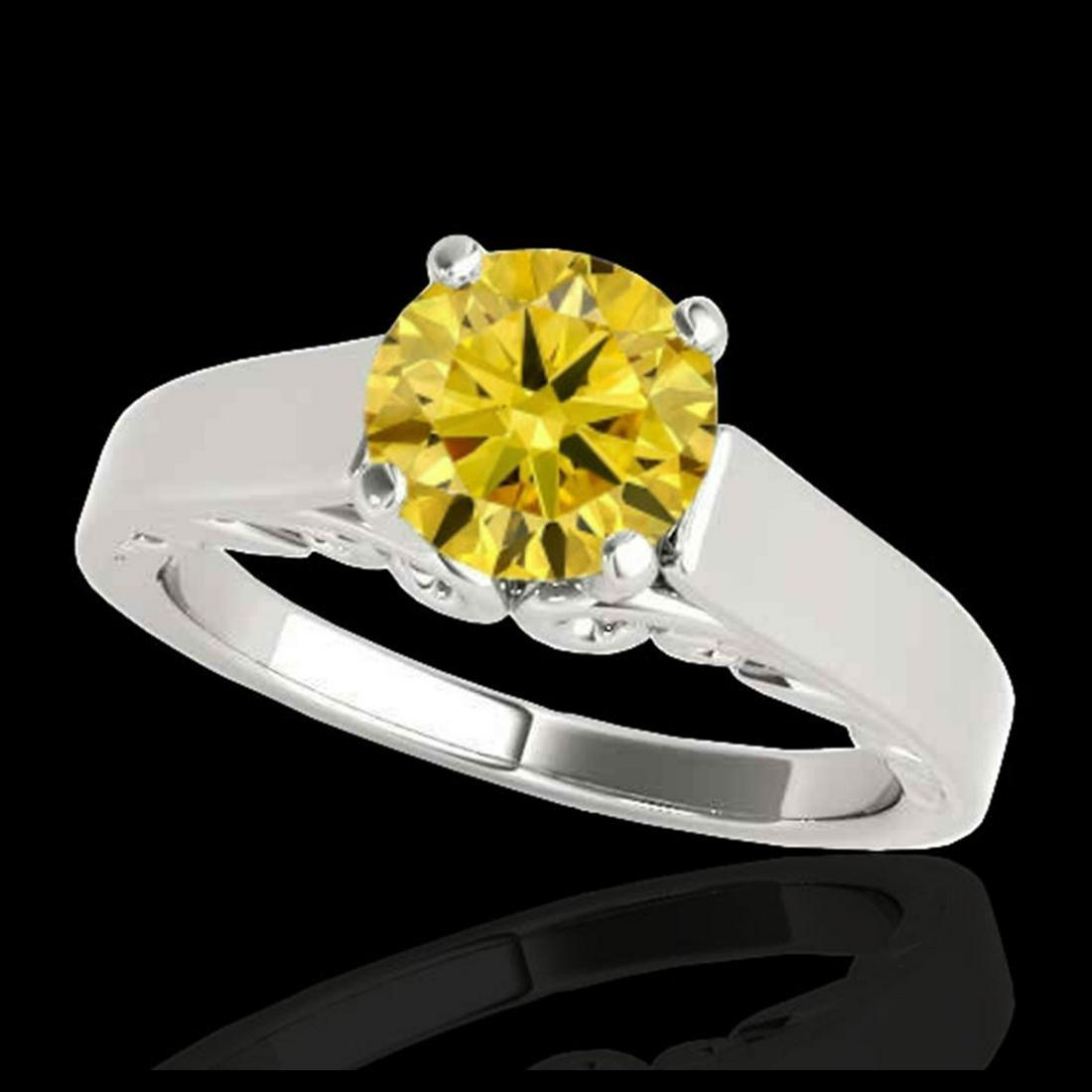1 ctw SI/I Fancy Intense Yellow Diamond Ring 10K White