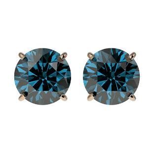 211 ctw Intense Blue Diamond Stud Earrings 10K Rose