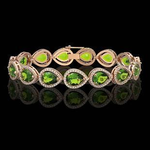 158 ctw Peridot Diamond Halo Bracelet 10K Rose Gold
