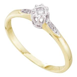 10kt Yellow Gold Round Diamond Solitaire Bridal Wedding