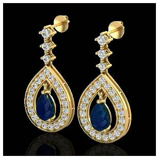 225 ctw Sapphire VSSI Diamond Earrings 14K Yellow
