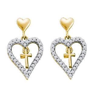 14kt Yellow Gold Round Diamond Heart Cross Dangle