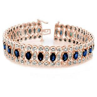 1850 ctw Blue Sapphire Diamond Bracelet 18K Rose