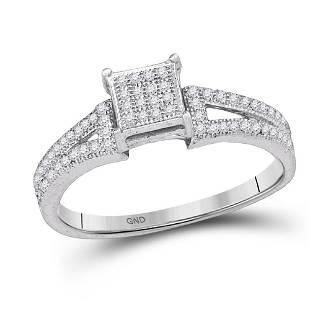 10kt White Gold Elevated Diamond Square Cluster Bridal